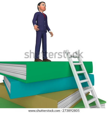 Businessman With Books Showing Knowledge Advisor And Train - stock photo