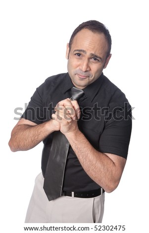 Businessman with both hands clasp in begging gesture