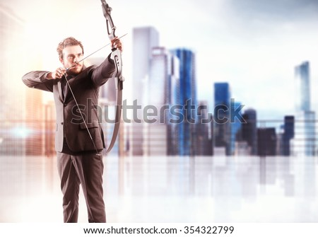 Businessman with bow and city view background - stock photo