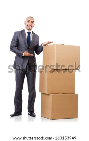 Businessman with box isolated on the white - stock photo