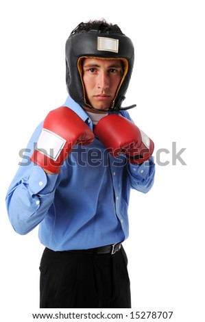 Businessman with boxing gear isolated over a white background - stock photo