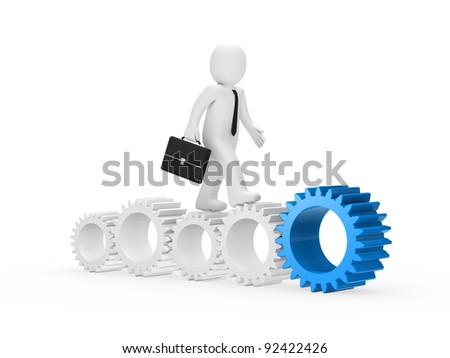 businessman with briefcase go on with gear - stock photo