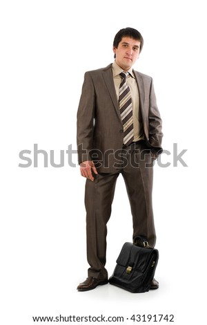 Businessman with briefcase isolated over white background - stock photo