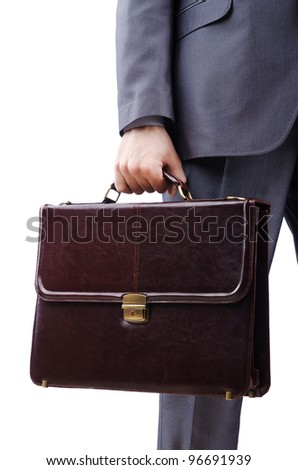 Businessman with briefcase on white - stock photo