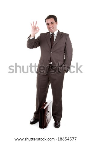 Businessman with brown classic case. Isolated on white - stock photo