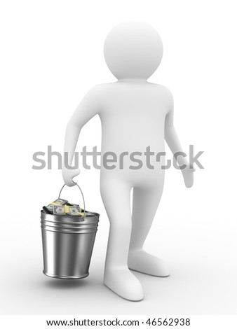 businessman with bucket of money. isolated 3D image - stock photo