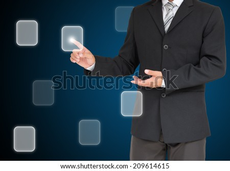 businessman with button coming from hand