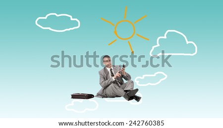 Businessman with calculator on clouds.Finance  business - stock photo