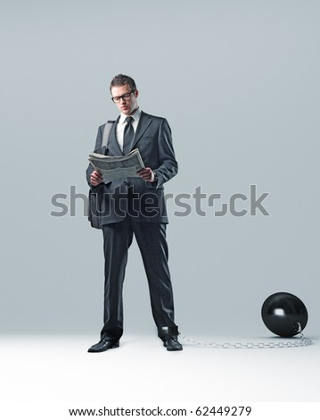 businessman with chain and ball 3d - stock photo