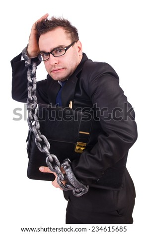 Businessman with chain isolated on the white - stock photo