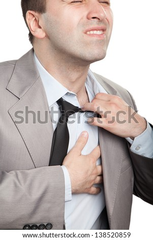 Businessman with chest pain - stock photo