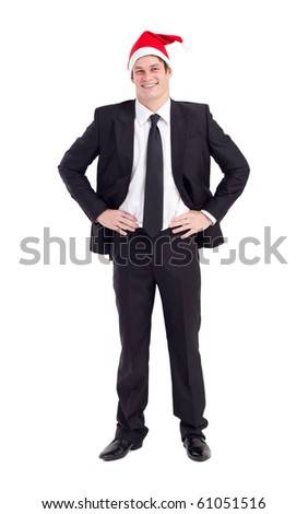 businessman with Christmas hat over white - stock photo