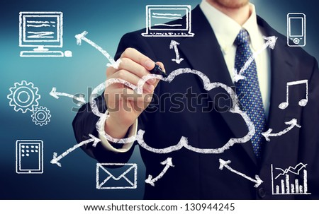 Businessman with cloud computing and connectivity concept - stock photo