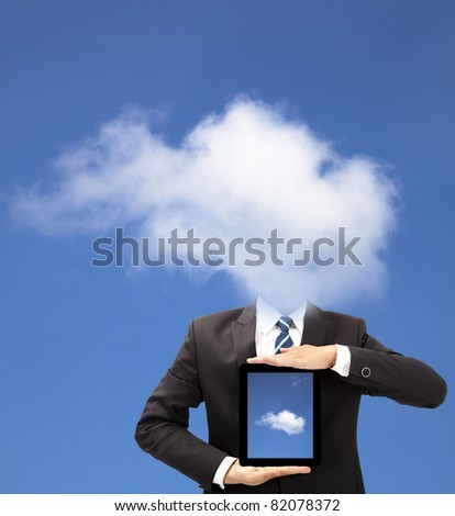 businessman with cloud thinking concept and holding tablet pc - stock photo