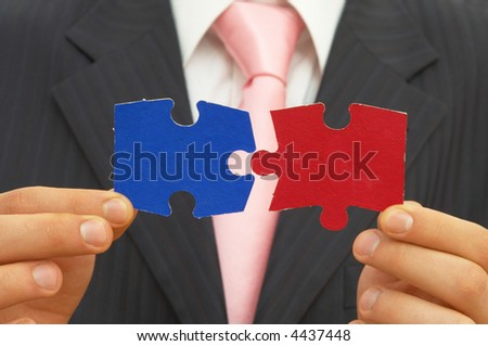 businessman with colorful puzzle pieces for business decision concept