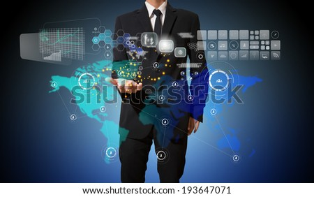 businessman with connection of business on hand - stock photo