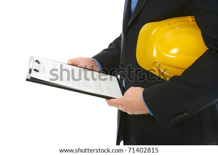 Businessman with construction helmet and clipboard . Isolated on white background - stock photo