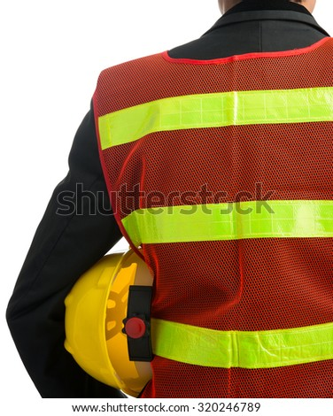 Businessman with construction helmet Isolated on over white background - stock photo