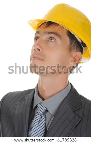 Businessman with construction helmet. Isolated on white - stock photo