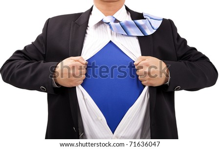 Businessman with courage and superman  concept - stock photo