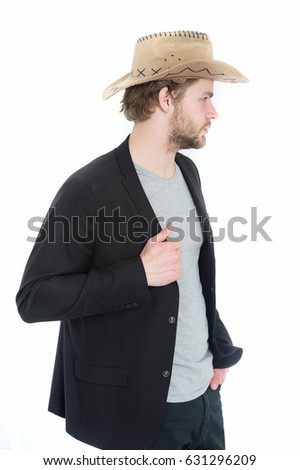 businessman with cowboy hat in suit jacket, guy has happy smiling face in jacket isolated on white background