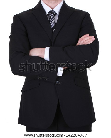 businessman with crossed arms hand isolated on white background - stock photo