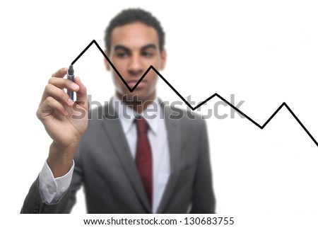 Businessman with  Diagram - stock photo