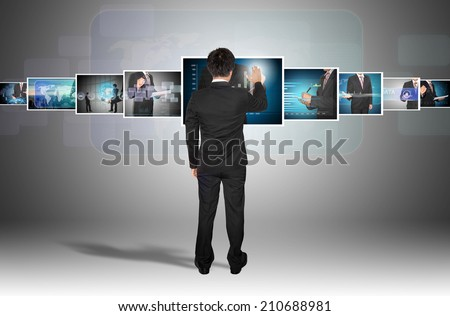 businessman with digital image on future - stock photo