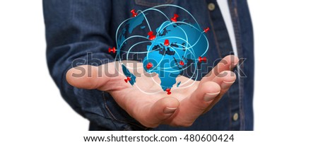 Businessman digital world map pins floating stock photo royalty businessman with digital world map and pins floating over his hand 3d rendering gumiabroncs Choice Image