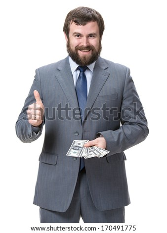 Businessman with dollar cash money on a white background - stock photo