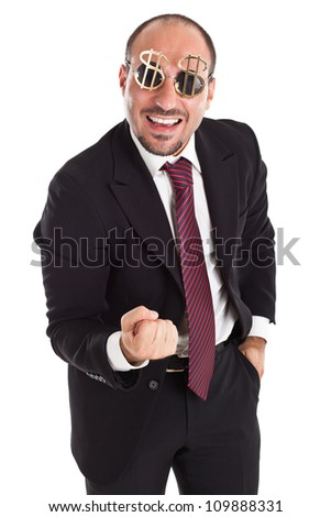 Businessman with dollar-sign glasses standing and cheering - stock photo