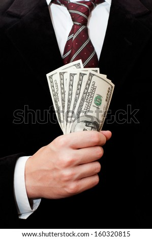 Businessman with dollars - stock photo