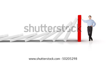 Businessman with domino. - stock photo
