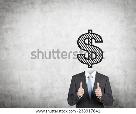 businessman with drawing dollar head showing thumb up