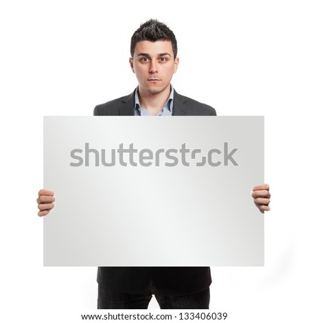 Businessman with empty board in his hands isolated on white background. - stock photo