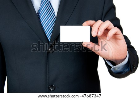 businessman with empty card in hand - stock photo