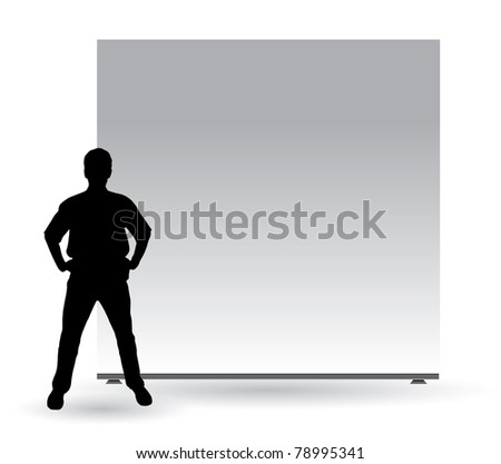 Businessman with empty roll up - stock photo