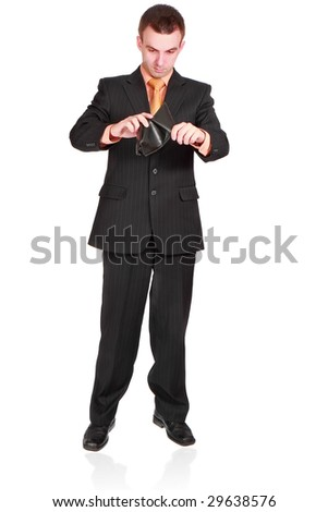 businessman with empty wallet. Isolated