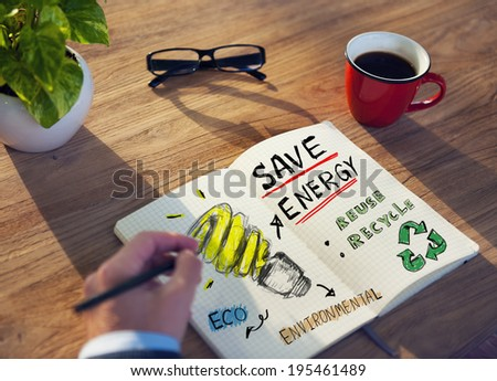 Businessman with Energy and Environmental Concept - stock photo