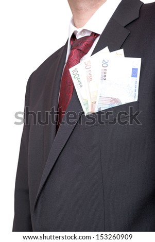 Businessman with euro banknotes / money and business