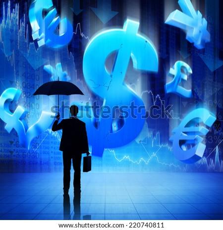 Businessman With Fianacial Crisis - stock photo