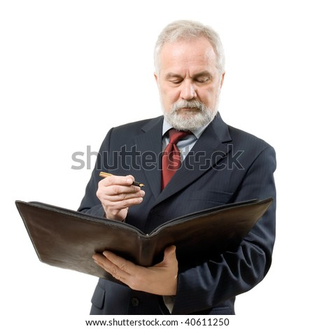 Businessman with file and ink pen on white background (isolated). - stock photo