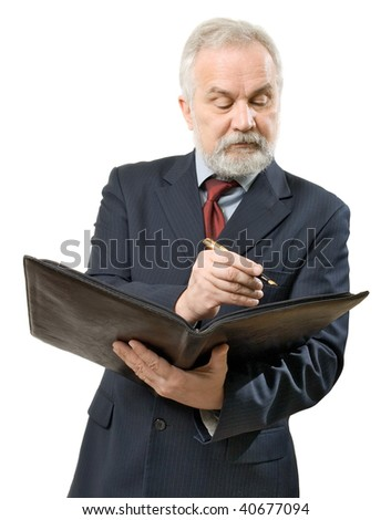 Businessman with file and ink pen on white background (isolated).