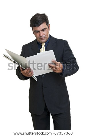 Businessman with files isolated in white