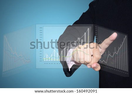businessman with financial  from hand