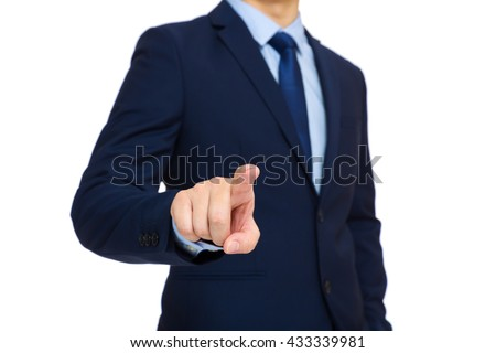 Businessman with finger touch on the air