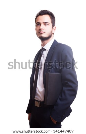 Businessman with folder in hand on white background in studio photo