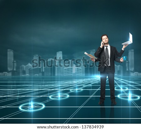 businessman with four hands holding various instruments standing on interface background