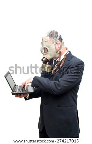Businessman with gas mask over white vignetting
