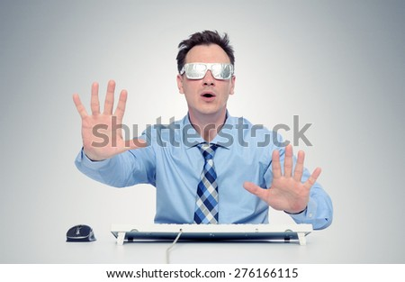 Businessman with glasses of foil in front of computer. Where am I? concept - stock photo